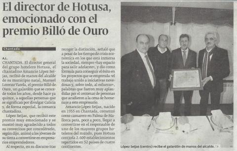 El director de Hotusa, emocionado con el premio Billó de Ouro