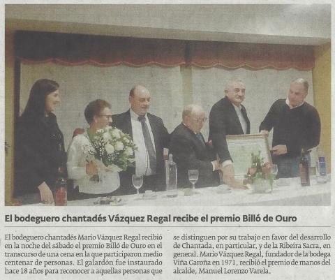El bodeguero chantadés Vázquez Regal recibió el premio Billó de Ouro